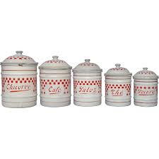 french enamel graniteware canister set with red check design