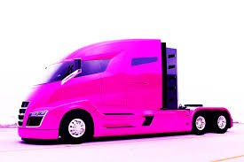 pink mercedes truck first tesla truck to destroy volvo renault mercedes