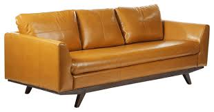 Yellow Leather Sofa Lily Leather Sofa Transitional Sofas By Joseph Allen