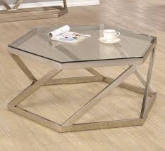 coaster 704008 hexagon shape glass top coffee table nickel finish base