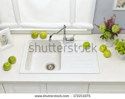 White Granite Kitchen Sink Work Surface Stock Images Royalty Free Images Vectors