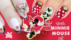 disney minnie mouse nail art how to paint a glitter nail