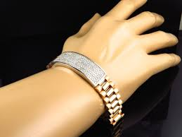 yellow gold bracelet with diamond images 18k yellow gold rolex style pave mens vs diamond bracelet 6 ct jpg