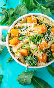 pasta dishes penne with roasted butternut squash and kale
