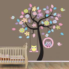 amazon wallstickersusa wall sticker decal beautiful tree amazon wallstickersusa wall sticker decal beautiful tree with hanging owls pink flowers large baby