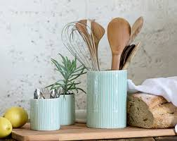 kitchen utensil canister large ceramic utensil holder kitchen container big ceramic