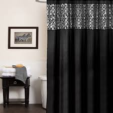 Black Bathroom Curtains Classic Black And Silver Tile Patchwork Shower Curtain And Hooks