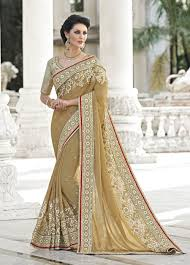 2016 latest indian saris online shopping beige latest party wear
