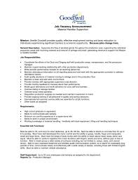 Supervisor Responsibilities Resume Stylish And Peaceful Material Handler Resume 10 The Best Material