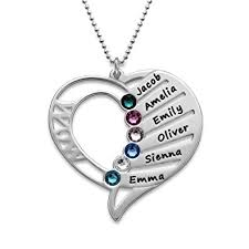 personalized heart pendant engraved necklace with swarovski birthstones