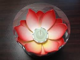 Lotus Flower Tea - small red lotus flower with tea light available from birando