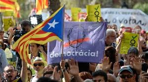 in catalonia thousands protest spanish attempts to stop
