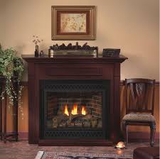 dvd36fp direct vent fireplace trimmed in black arch louvers and outer frame in cherry