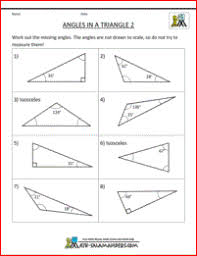 finding missing angles in triangles worksheet 5th grade geometry