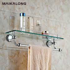 Bathroom Glass Shelves With Towel Bar Bathroom Glass Shelf With Towel Bar Chrome Thedancingparent
