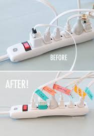 before and after cord organization using washi tape diy tips
