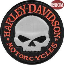 harley davidson reflective skull patch patch