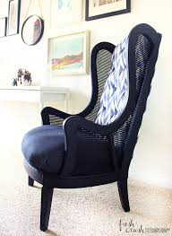 How To Reupholster A Wingback Armchair This Caned Wingback Chair Makeover Is Amazing Come Learn How To