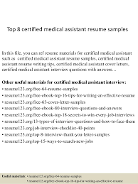 Medical Assistant Job Description For Resume by Top 8 Certified Medical Assistant Resume Samples 1 638 Jpg Cb U003d1428107359
