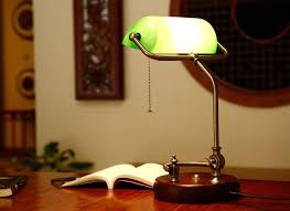 Traditional Bankers Desk Lamp Bankers Desk Lamp Vintage Table Lighting Fixture Green Glass Cover