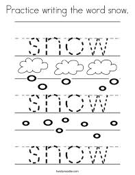 practice writing word snow coloring twisty noodle