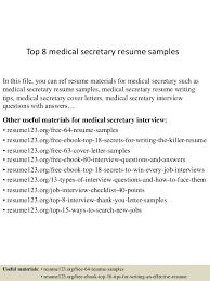 Medical Receptionist Resume Samples by Ideas Of Medical Secretary Resume Sample With Resume Gallery