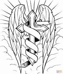 cross with wings coloring page free printable pages adorable of