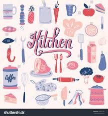 set kitchen utensils food your design stock vector 281841128