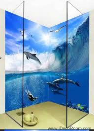 Wall Murals 3d 3d Wallpaper Waves Dophin Water Seagull Wall Murals Bathroom