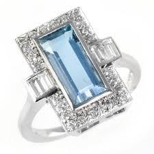 gold art rings images 18ct white gold art deco style emerald cut aqua diamond ring jpg