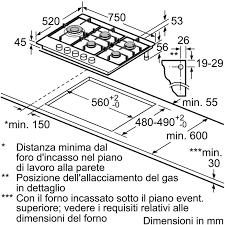 dimensioni piano cottura 5 fuochi bosch pcs7a5m90 piano cottura a gas 75 cm 5 fuochi colore inox