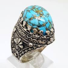 natural turquoise stone nice 925 sterling silver men ring natural blue turquoise stone