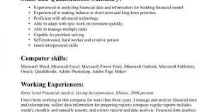 financial analyst resume exles financial analyst resume summary paso evolist co