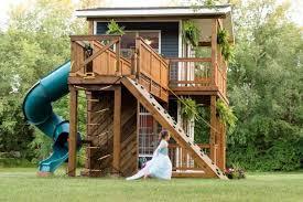 Backyard Play House Michigan Dad Built His Daughters The Most Incredible Backyard