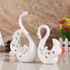 swan ceramic ornaments home decor european modern living