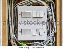 close up of a domestic electrical fuse box on off switch picture