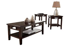 dark wood coffee table sets dark wood coffee table set by ashley furniture store chicago