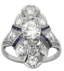 platinum art deco 0 85ct old mine diamond u0026 sapphire ring