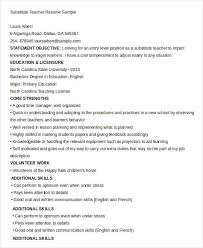 Substitute Teacher Resume Examples teacher resume sample 28 free word pdf documents download
