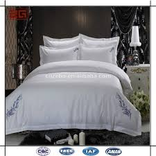 modern design with embroidery white egyptian cotton bed linen for