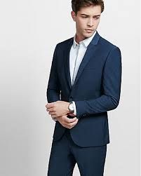 slim navy blue performance stretch wool blend suit jacket