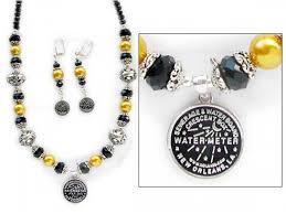 new orleans water meter necklace silver gold black new orleans water meter necklace set