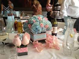 pink roses and light blue hydrangea baby shower centerpiece baby