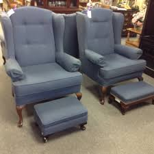 wing back chairs we a pair of these blue pawing back chairs