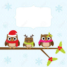 owl christmas christmas card with family of owls royalty free cliparts vectors