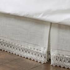 sophia ivory macrame kick pleat bedskirts