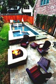 tiny pools narrow pool with hot tub firepit great for small spaces backyard