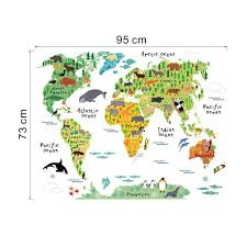 World Map Cartoon by Amazon Com Winhappyhome Animal Distribution World Map Removable