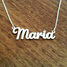 sterling silver plate necklace images Maria style nameplate necklace solid sterling silver etsy jpg