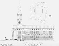 plate 17 st john u0027s church south east elevation with plan of